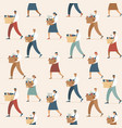crowd fired sad people seamless pattern vector image vector image