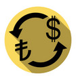 currency exchange sign turkey lira and us dollar vector image vector image