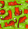 cute cats seamless pattern background with hand vector image vector image