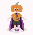 cute kid halloween character wearing pumpkin mask vector image vector image