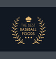 emblem for the best baseball foods consisting of a vector image vector image