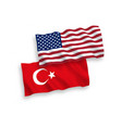 flags of turkey and america on a white background vector image vector image