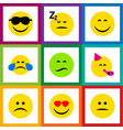 Flat icon emoji set of love frown smile and