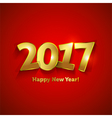 Golden 2017 Happy New Year sweet greeting card vector image