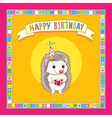 hedgehod birthday frame vector image vector image