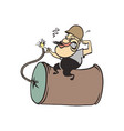 humorous cartoon man holding bomb cartoon vector image