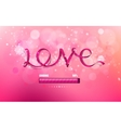 inscription love ribbon on a pink background vector image vector image