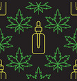 marijuana leaf with cosmetic bottle with cbd oil vector image vector image