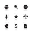 Marketing tools drop shadow icon set vector image