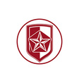 Military shield with pentagonal comet star vector image vector image