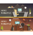 Office Workspace 2 Horizontal Cartoon Banners vector image vector image