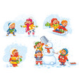 playing outdoor funny cartoon character vector image vector image