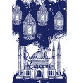 ramadan lantern and islam mosque with crescent vector image