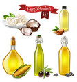 realistic oil product set vector image vector image