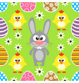 seamless easter background with rabbit and chicke vector image vector image