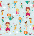 seamless pattern background with cute fairy girls vector image