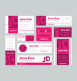 set pink business cards for designer vector image