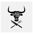 steakhouse bbq and grill logo with bull head on vector image