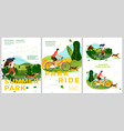 summer posters set - bike riding activities vector image vector image