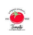 tomato badge label for markets and menu vector image vector image