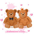 valentine day card with teddy bears couple vector image