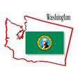washington state map and flag vector image