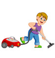 young man cleaning with vacuum cleaner vector image