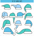 Set of 12 blue doodle hats Santa Claus vector image