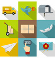 delivery service icons set flat style vector image