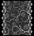 white lace seamless pattern with roses on black vector image