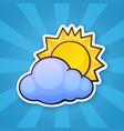 0734 sticker sun cloud vector image