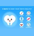 6 ways to keep your teeth healthy vector image