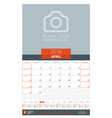 april 2018 wall monthly calendar planner for 2018 vector image vector image