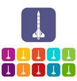 atomic rocket icons set vector image vector image