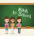 back to school girls pupil board vector image