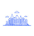 blue thin line city landscape downtown landscape vector image