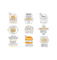 burger street food promo labels collection fast vector image vector image