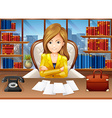 Businesswoman working in the office vector image vector image