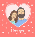 card for valentines day couple on heart frame vector image vector image