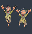 cartoon funny man jumping in different poses vector image vector image