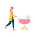 cartoon mother walking and pushing a pink pram vector image vector image