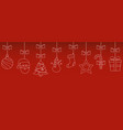 christmas hanging thin line ornaments background vector image vector image