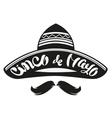 Cinco de Mayo Mexican wide brimmed hat sombrero vector image vector image