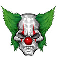 clown skull isolated on white background vector image vector image