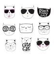 Cute Handdrawn Cat Set vector image vector image