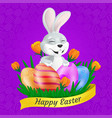 cute smiling easter bunny with painted eggs on vector image vector image