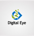 digital eye logo icon element and template for vector image