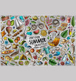 doodle cartoon set summer theme objects vector image
