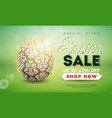 easter sale with gold painted egg on vector image vector image