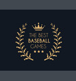 emblem for the best baseball games consisting of a vector image vector image